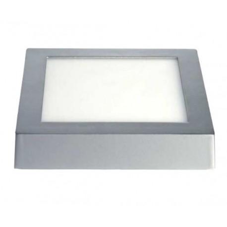 downlight led superficie 18w cuadrado marco plata