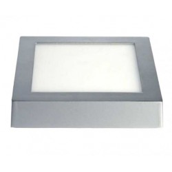 downlight led superficie 18w cuadrado marco plata
