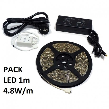 Pack led 1m 4.8w/m tiras y transformadores