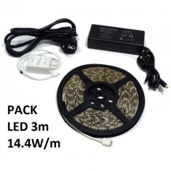 PACK LED 3m 14.4W/m (TIRAS Y TRANSFORMADORES)
