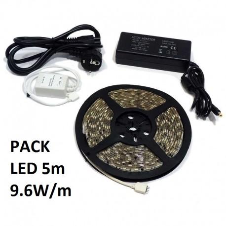 Pack led 5m 9.6w/m tiras y transformadores