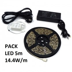 PACK LED 5m 14.4W/m (TIRAS Y TRANSFORMADORES)
